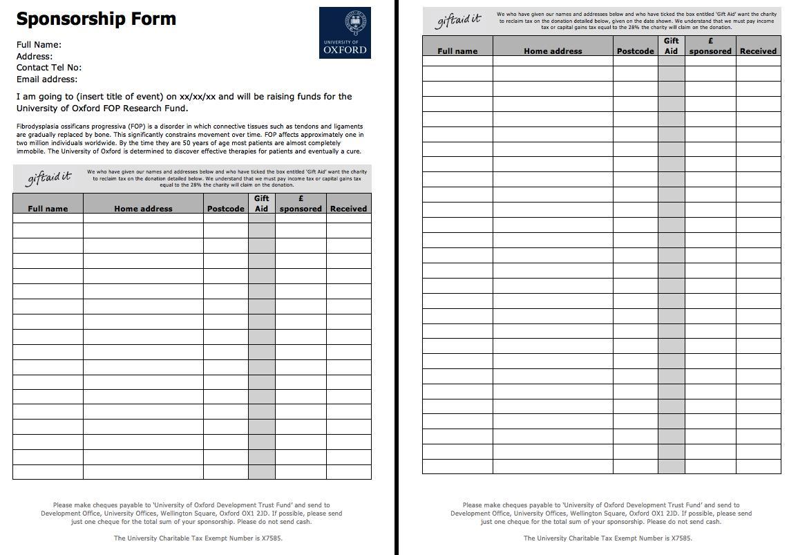 Free Sponsorship Form Template