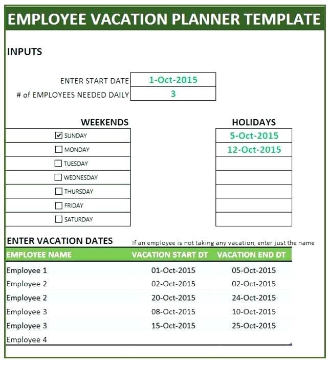 Free Staff Holiday Planner Template 2018