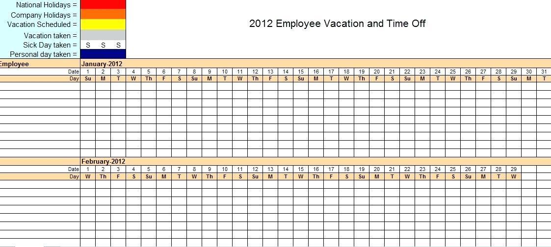 Free Staff Vacation Planner Template