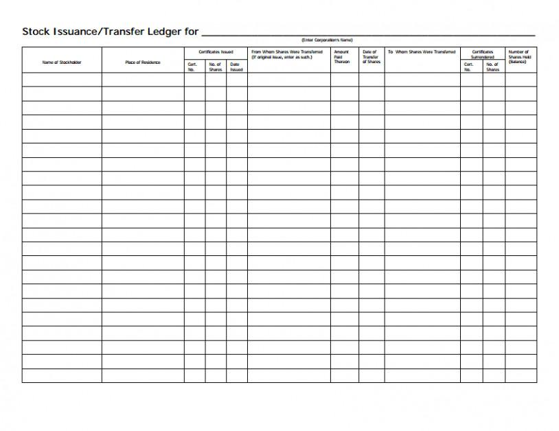 Free Stock Certificate Ledger Template