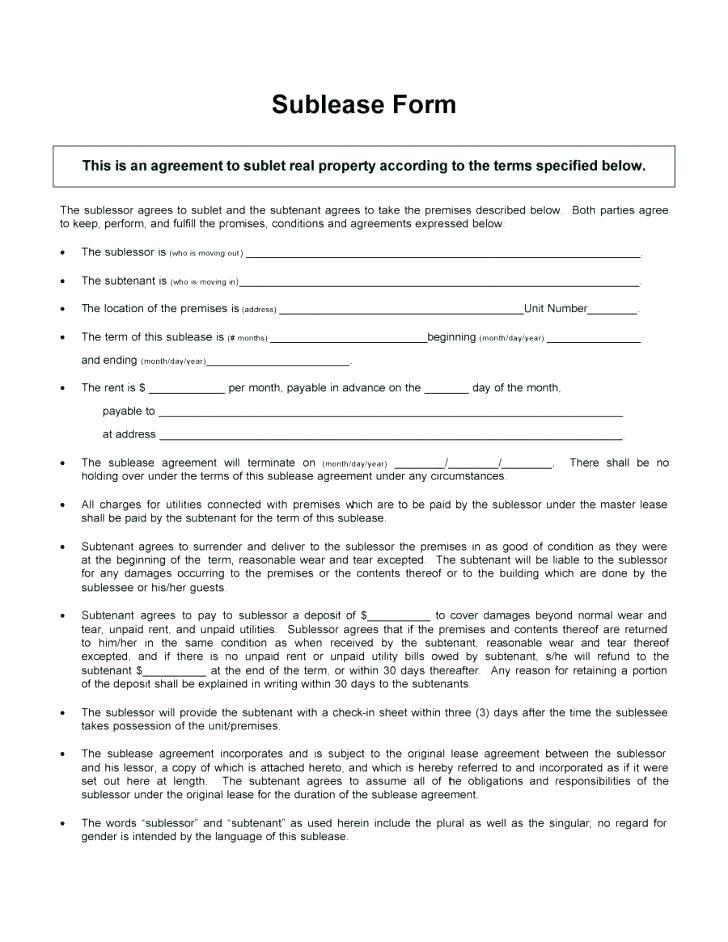 Free Sublease Agreement Template South Africa