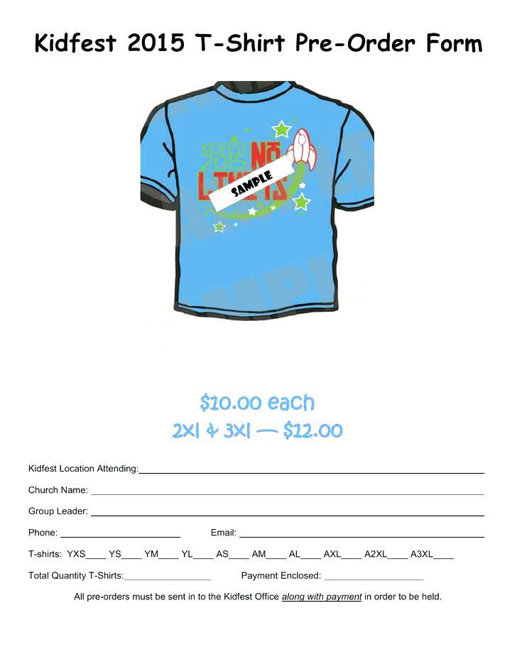 Free T Shirt Fundraiser Order Form Template
