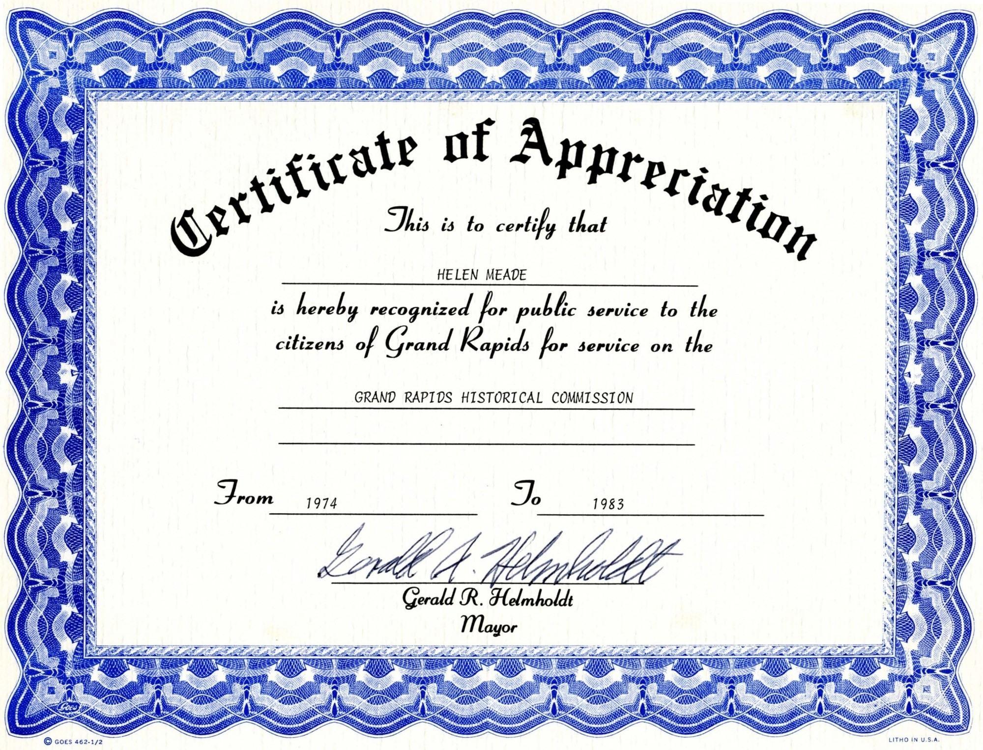 Free Template Certificate Of Appreciation