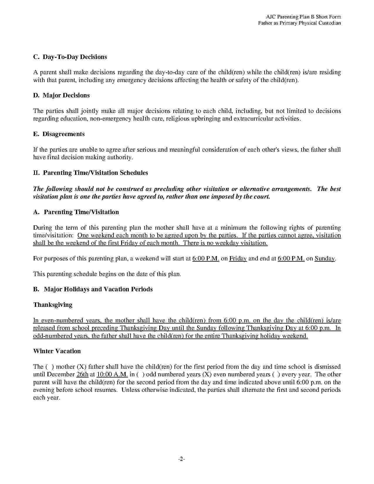 Free Template For Child Custody Agreement