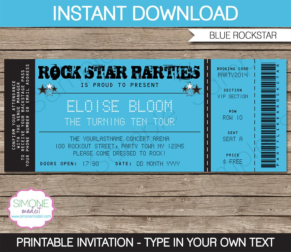 Free Template For Concert Tickets Invites