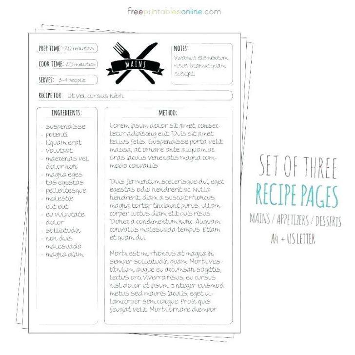 Free Template For Cookbook Pages