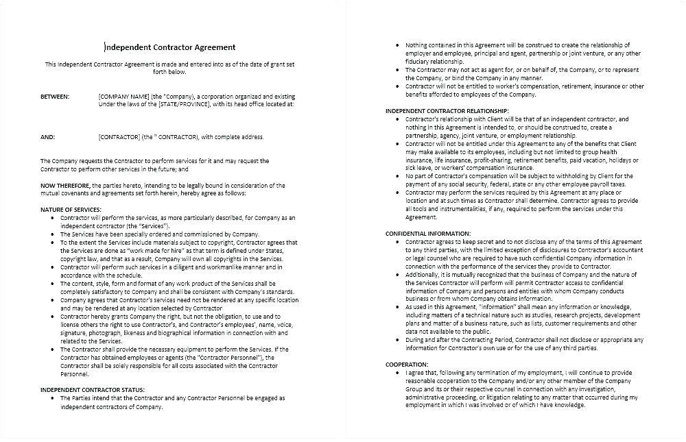 Free Template For Independent Contractor Agreement