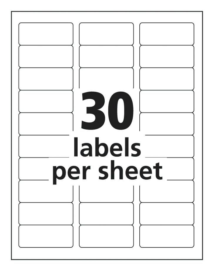 Free Template For Labels 30 Per Sheet