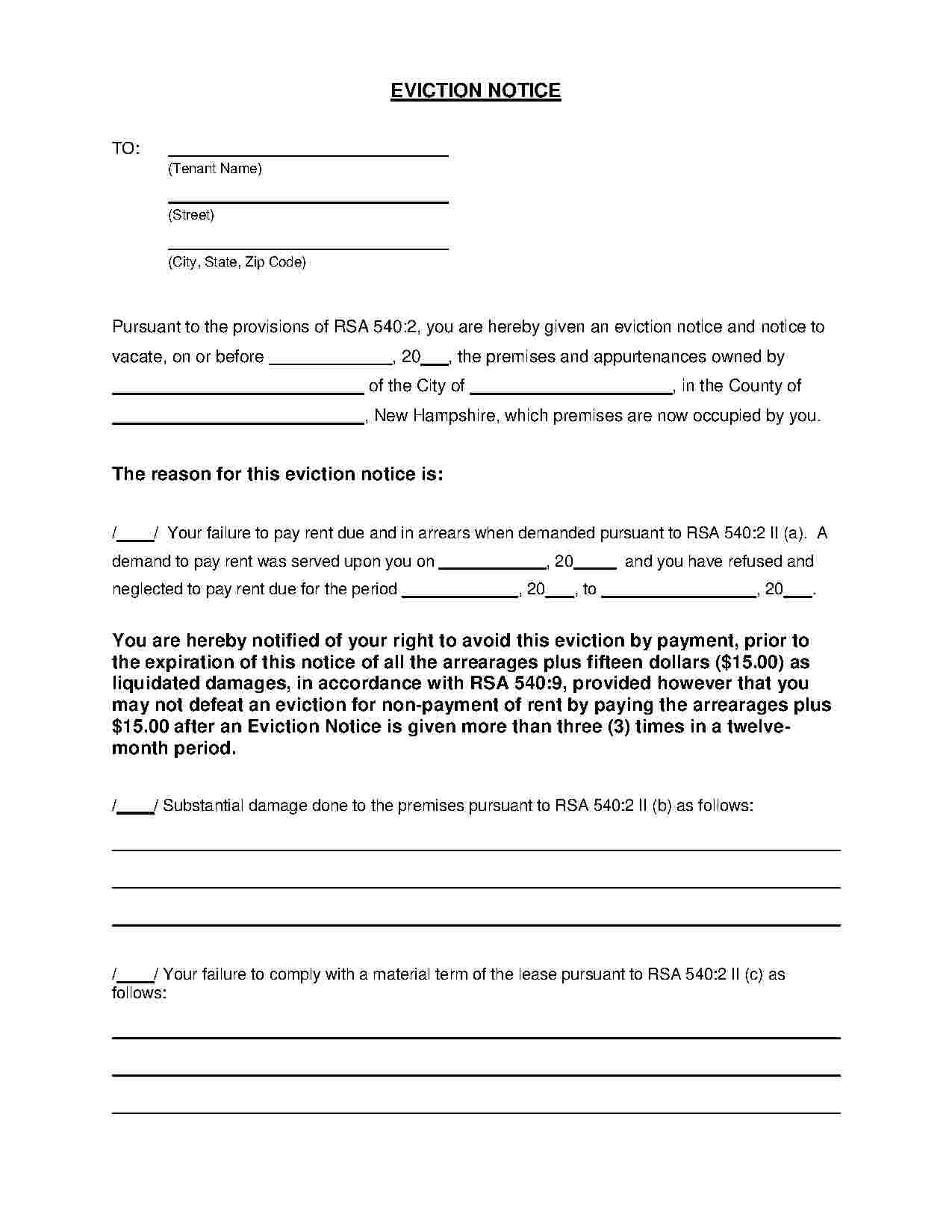 Free Template For Notice To Vacate
