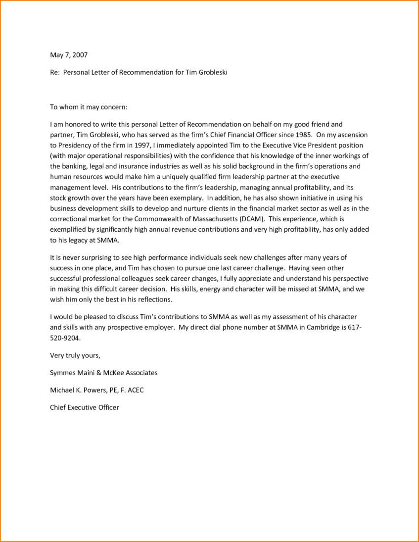 Free Template For Personal Letter Of Recommendation