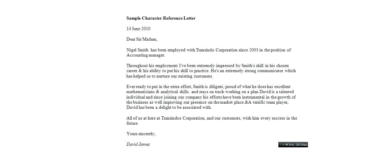 Free Template For Personal Reference Letter