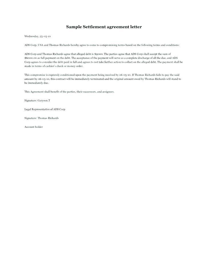 Free Template For Settlement Agreement