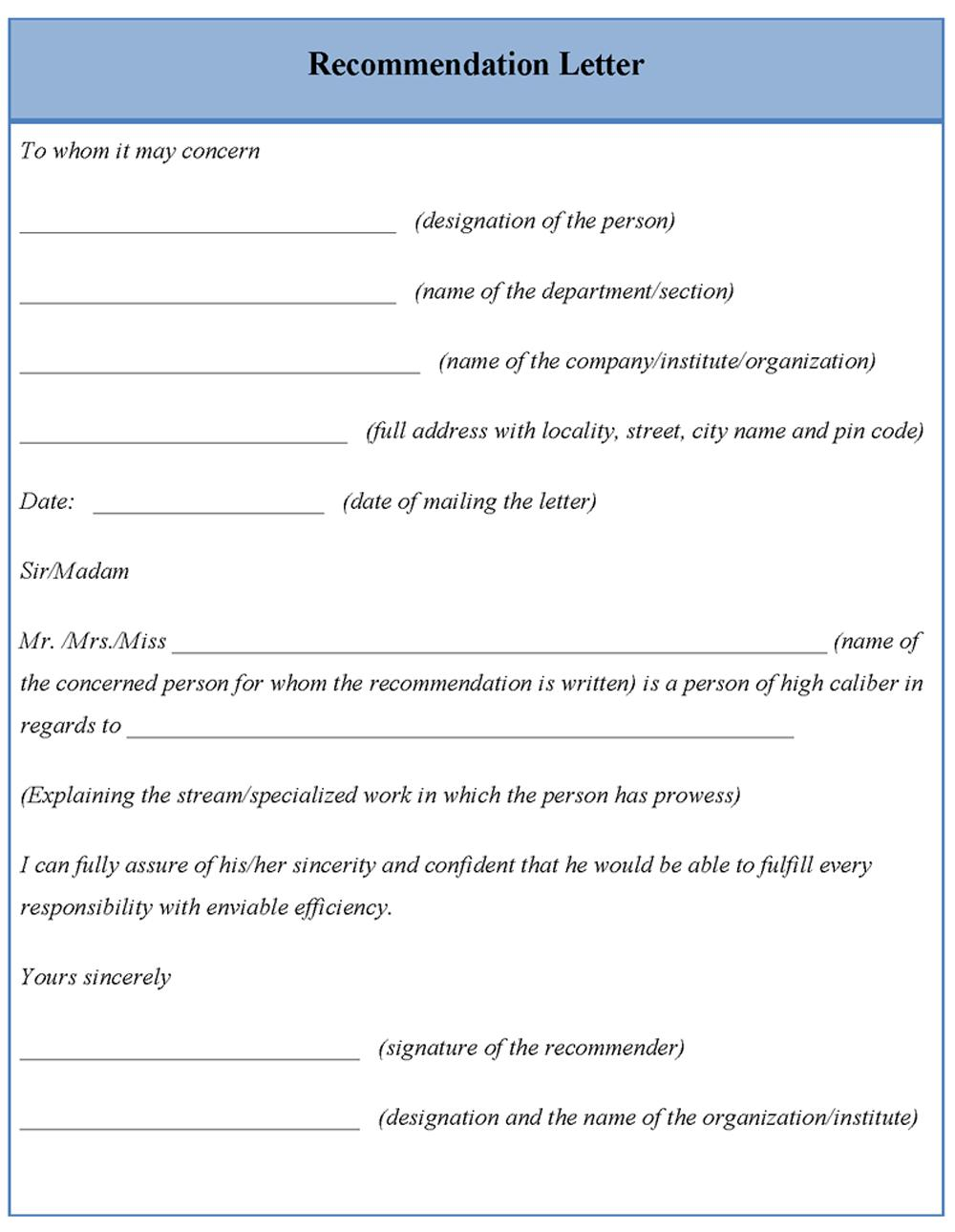 Free Template For Writing A Reference Letter