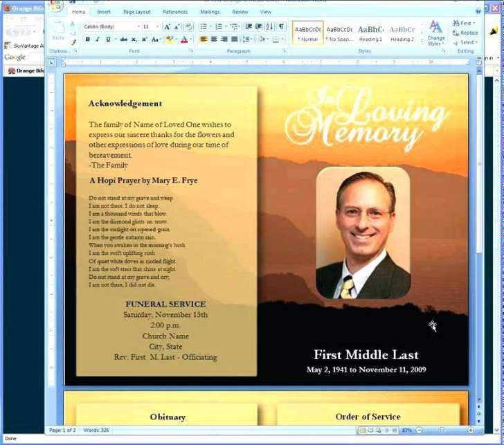 Free Templates For Obituary Programs