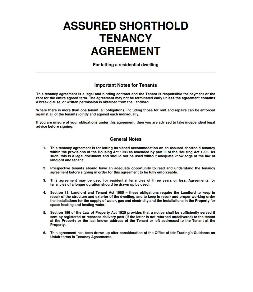 Free Tenancy Agreement Template Download