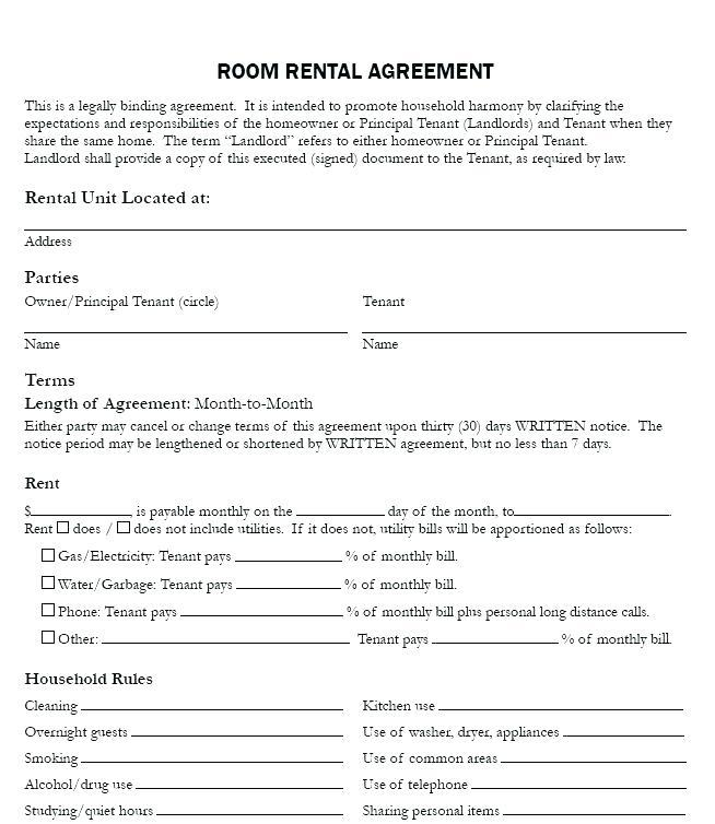 Free Tenancy Agreement Template For Renting A Room