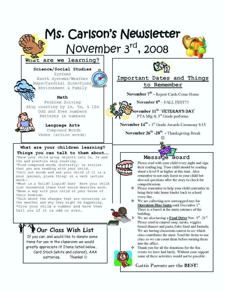 Free Thanksgiving Newsletter Templates Word