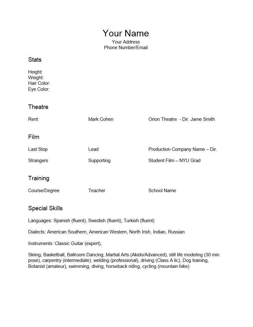 Free Theatre Resume Templates