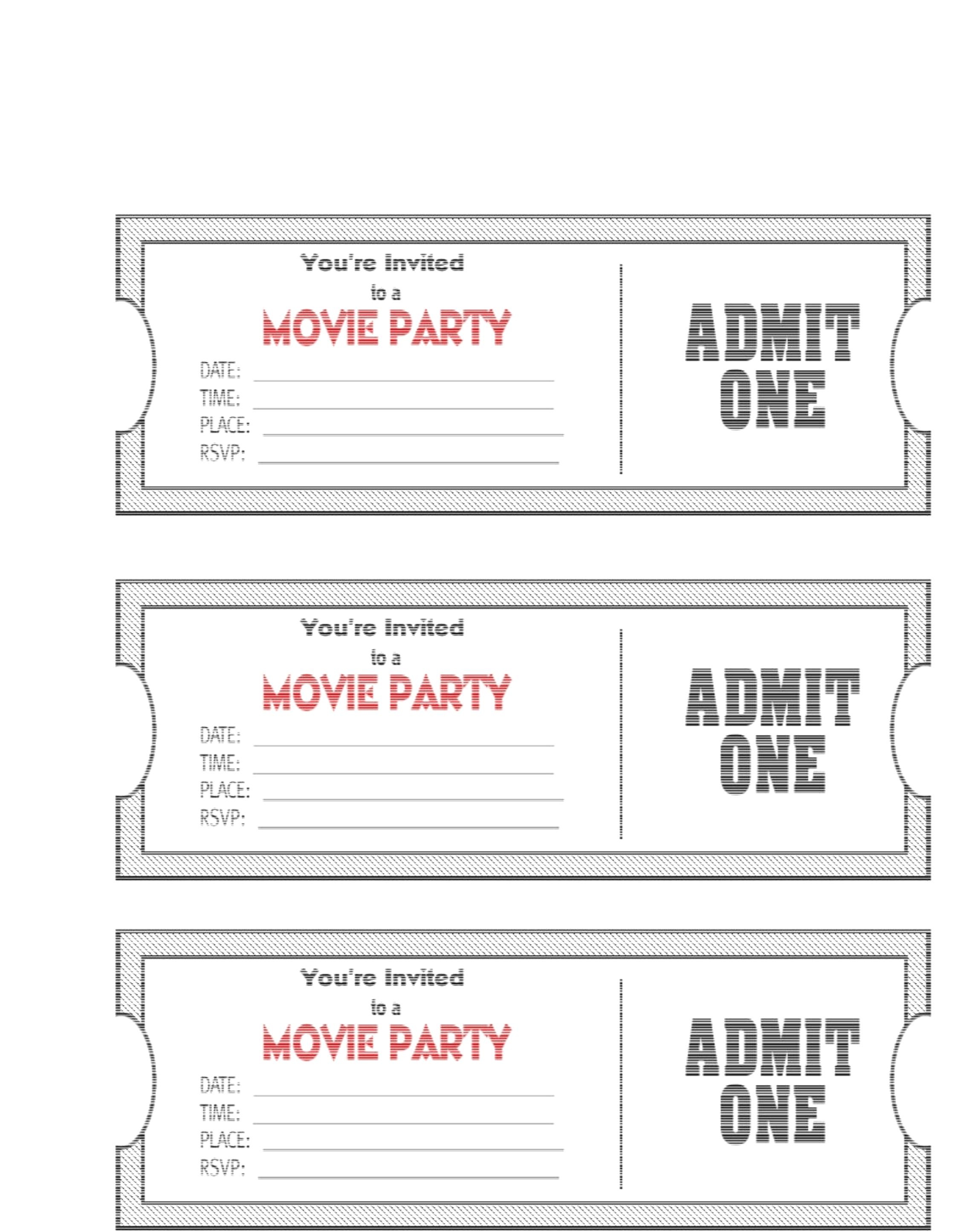 Free Ticket Template Printable Download