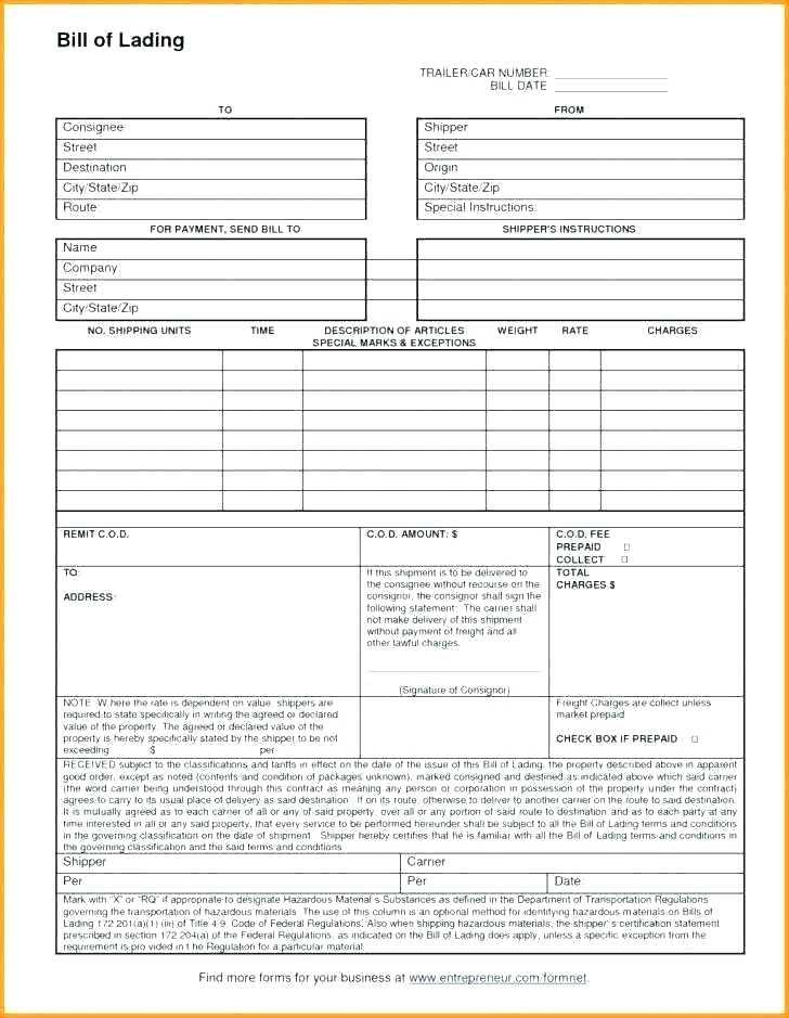 Free Truck Bill Of Lading Template