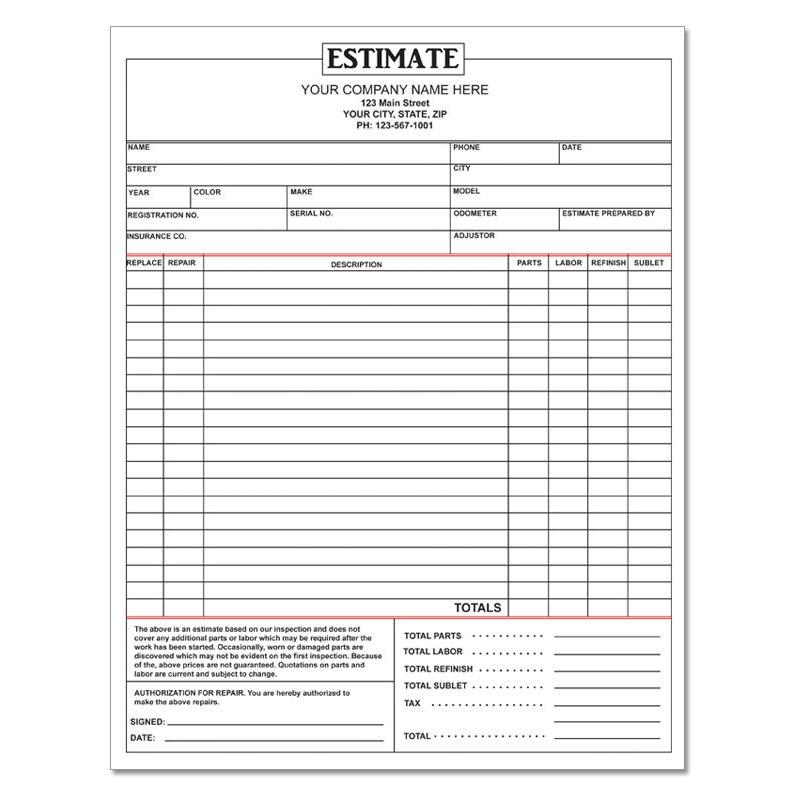Free Vehicle Repair Estimate Template