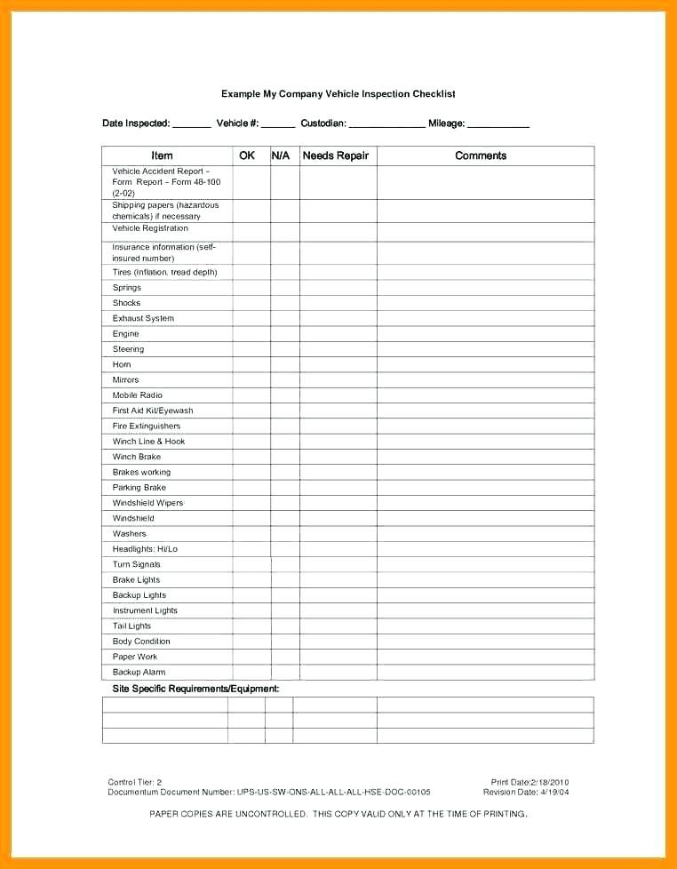 Free Vehicle Safety Inspection Checklist Template