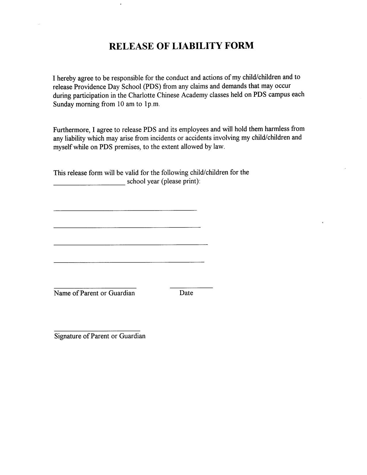Free Waiver Forms Template