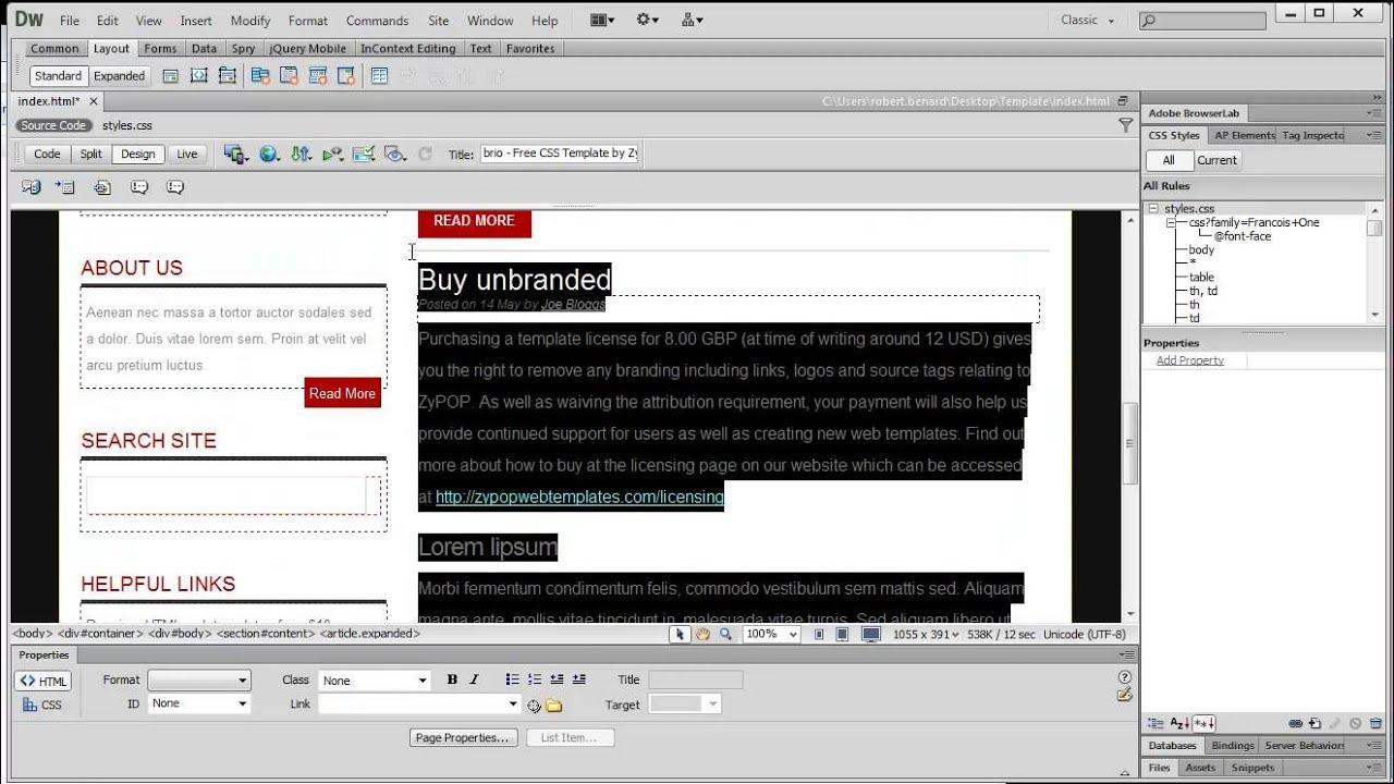 Free Web Templates Dreamweaver