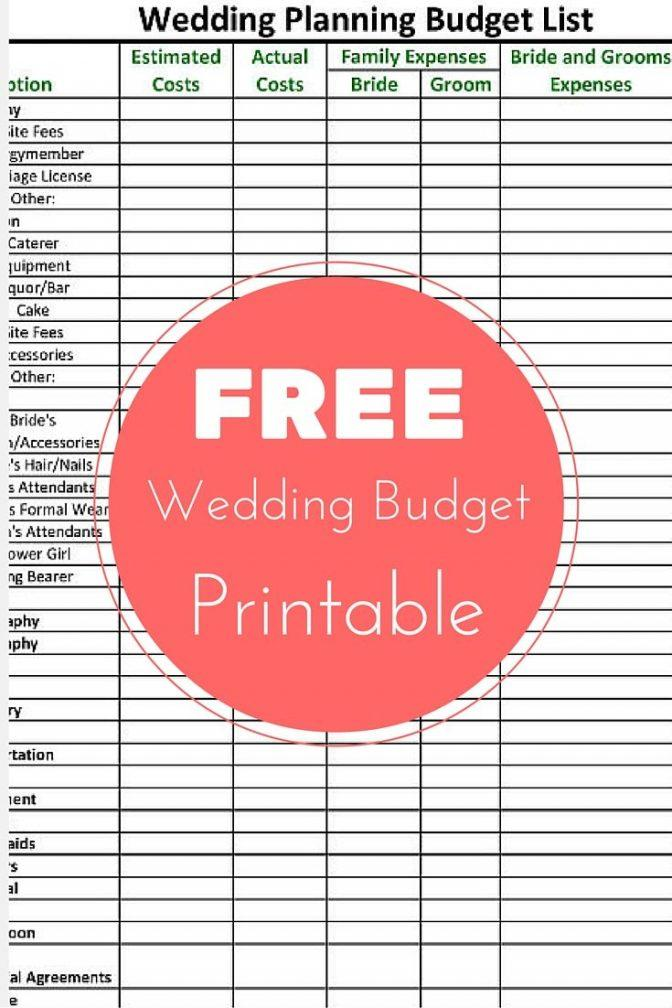 Free Wedding Budget Worksheet Printable
