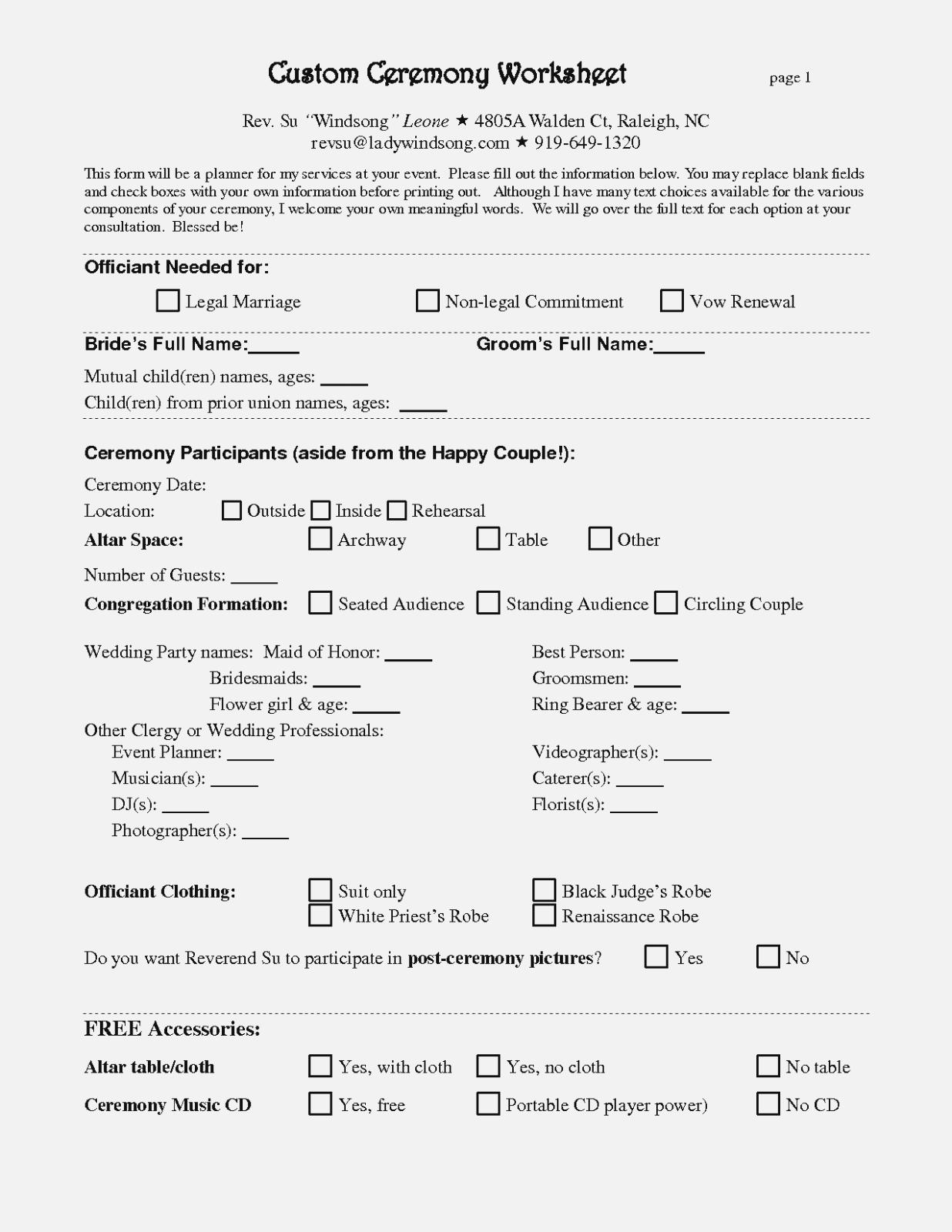 Free Wedding Planner Contract Form