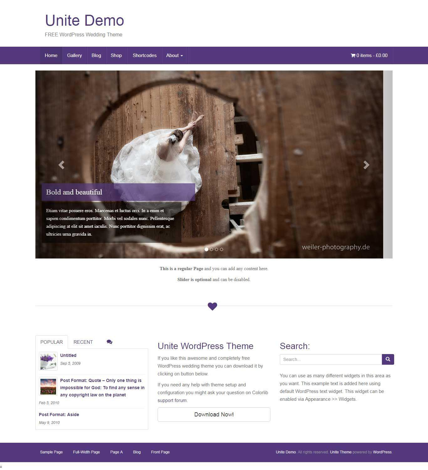 Free Wedding Website Templates WordPress