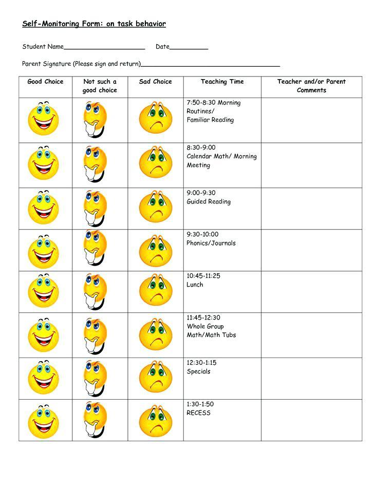 Free Weekly Behavior Chart Templates