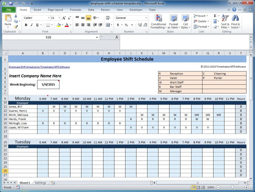 Free Weekly Employee Shift Schedule Template Excel
