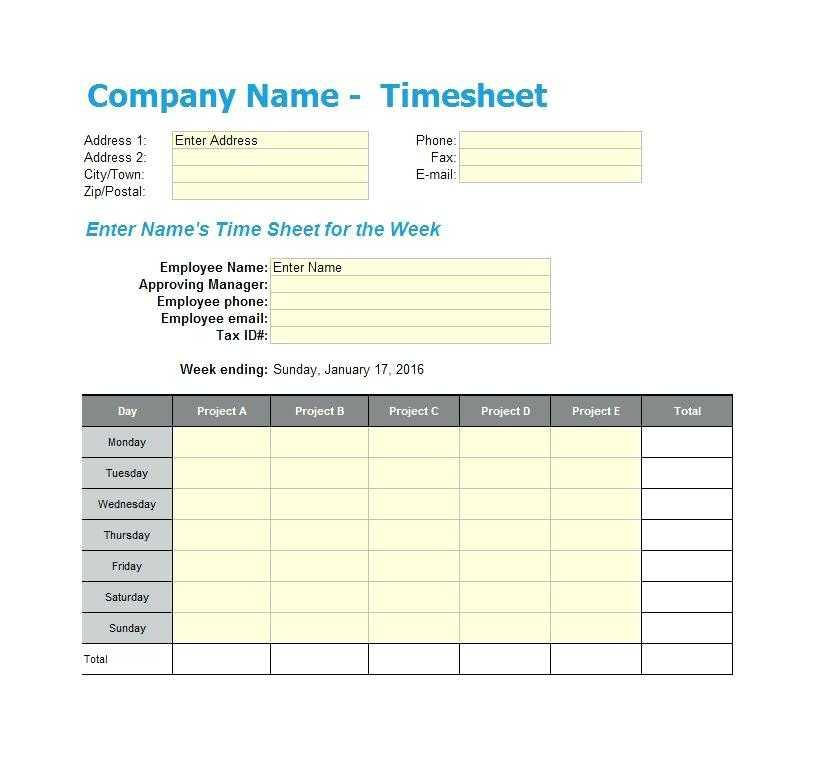 Free Weekly Employee Timesheet Template