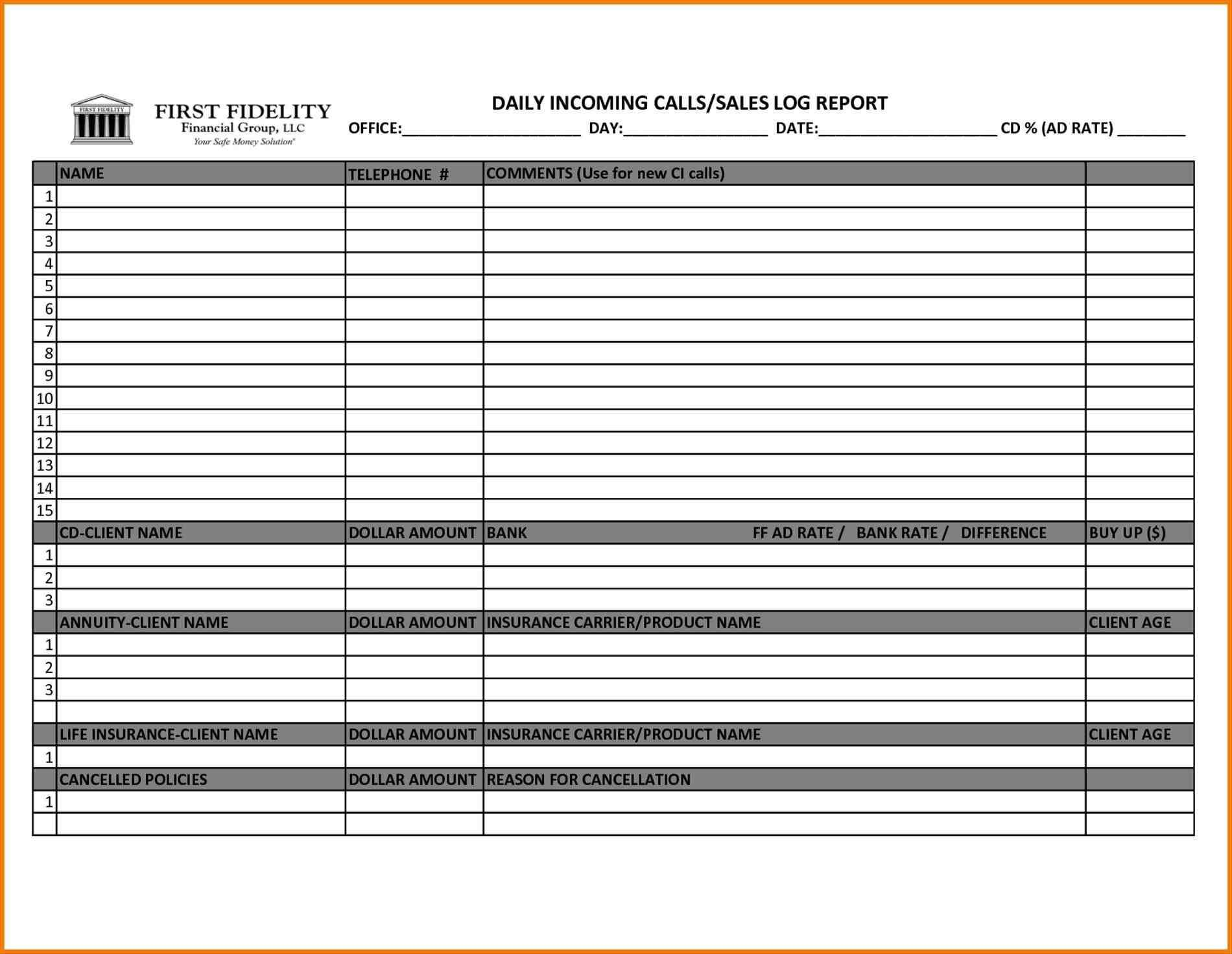 Free Weekly Sales Call Report Template