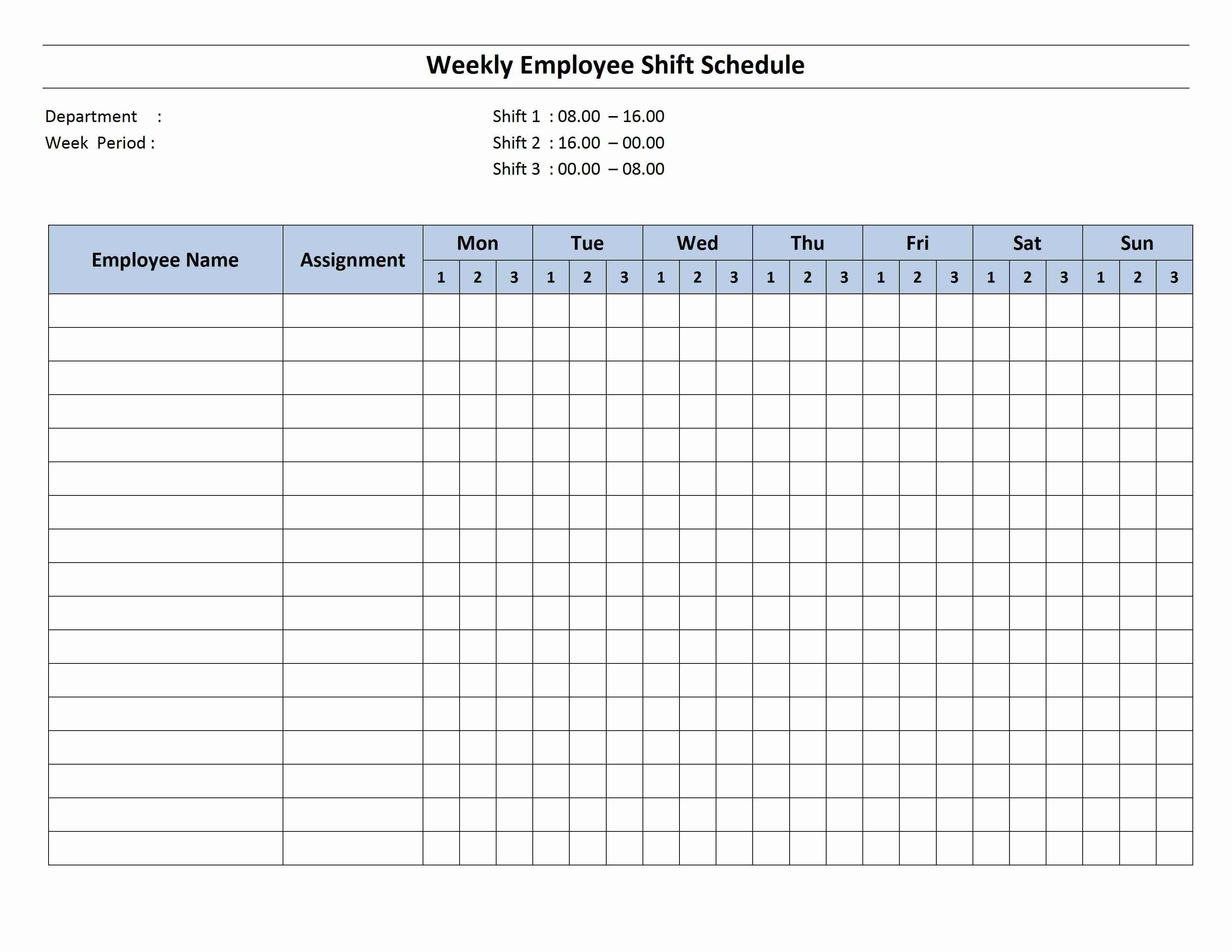 Free Weekly Staff Schedule Template