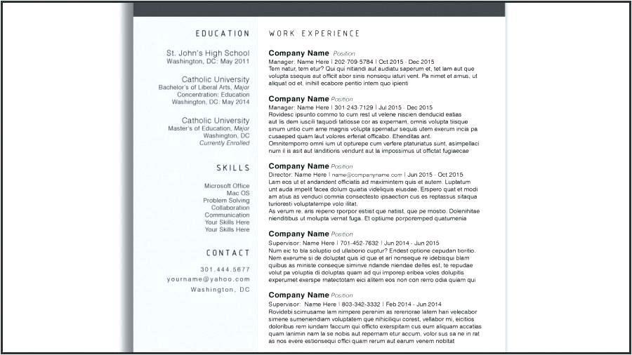 Free Word Resume Template Mac