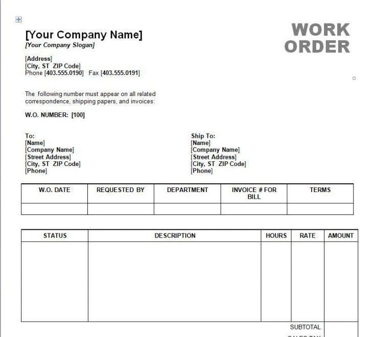 Free Work Order Template Word