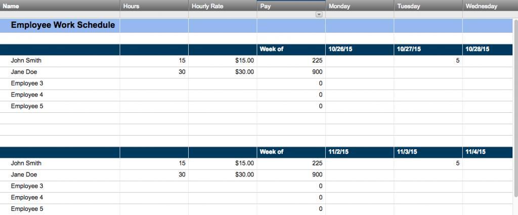 Free Work Schedule Template Word