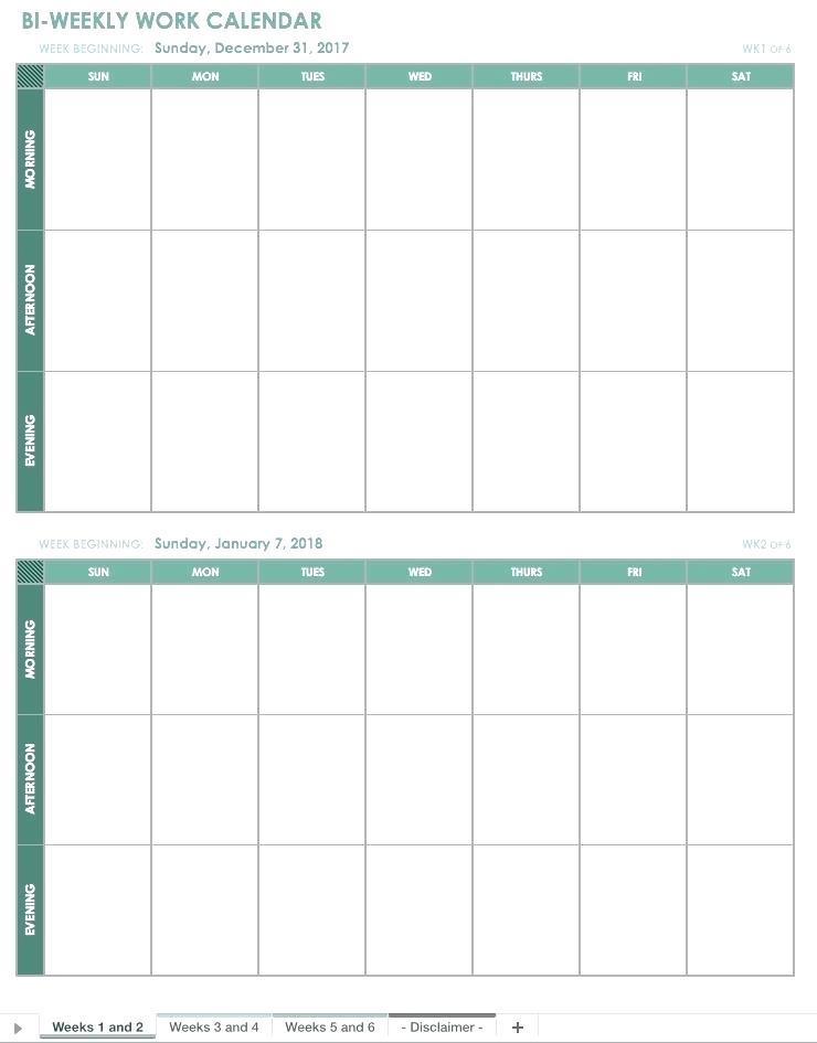 Free Work Week Calendar Template