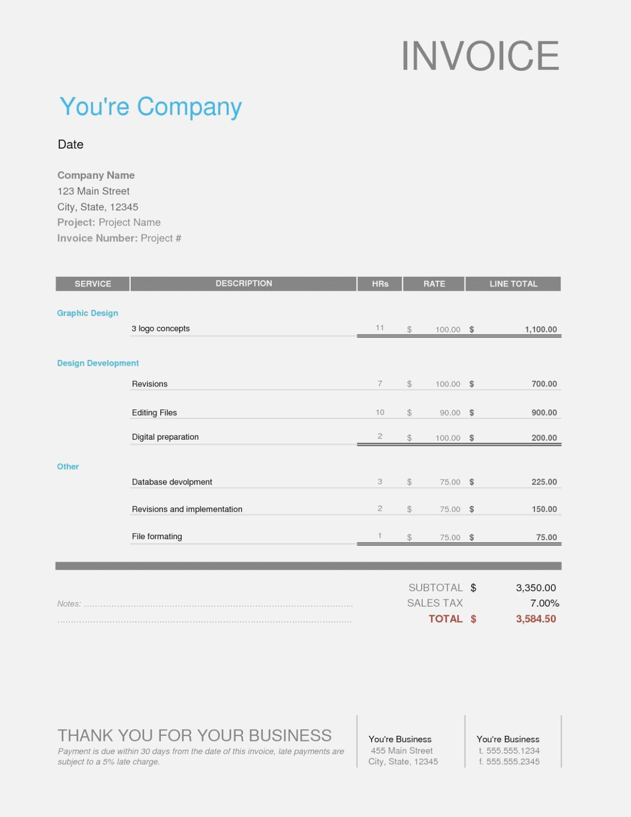 Freelance Graphic Design Invoice Templates