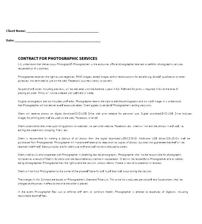 Freelance Photographer Contract Template