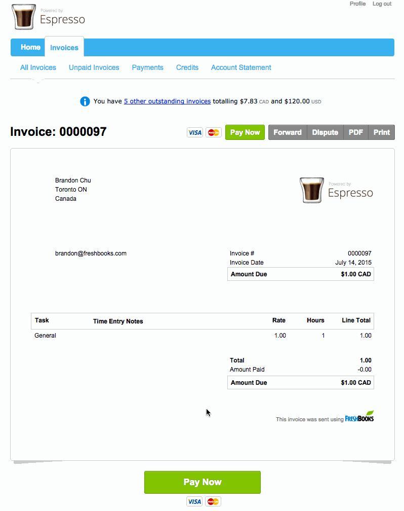 Freshbooks Invoice Layout