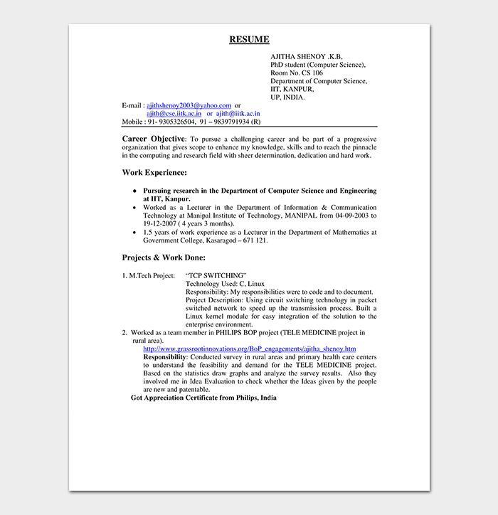 Fresher Resume Template Free