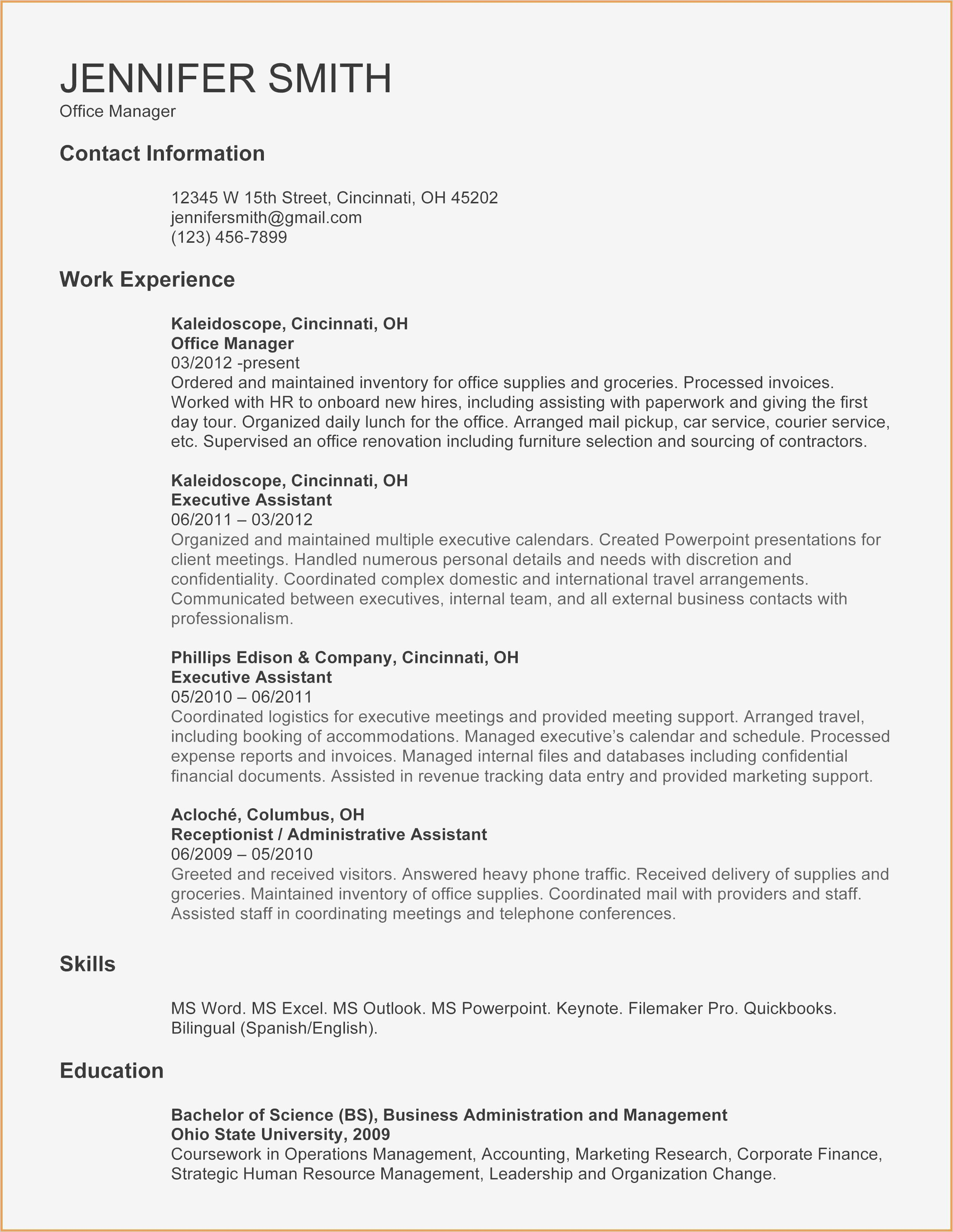 Functional Resume Template For Administrative Assistant