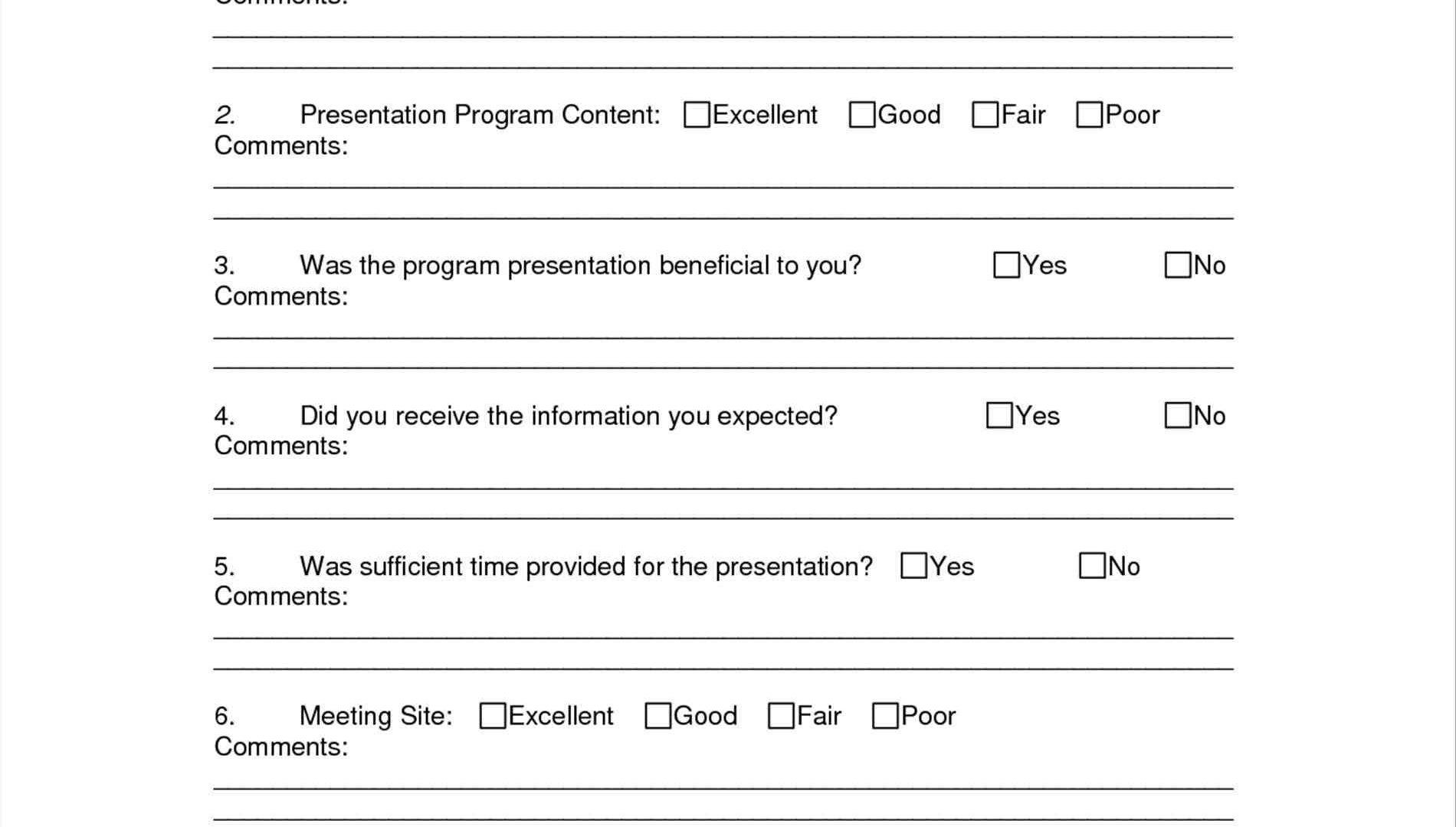 Fundraising Event Evaluation Form Template
