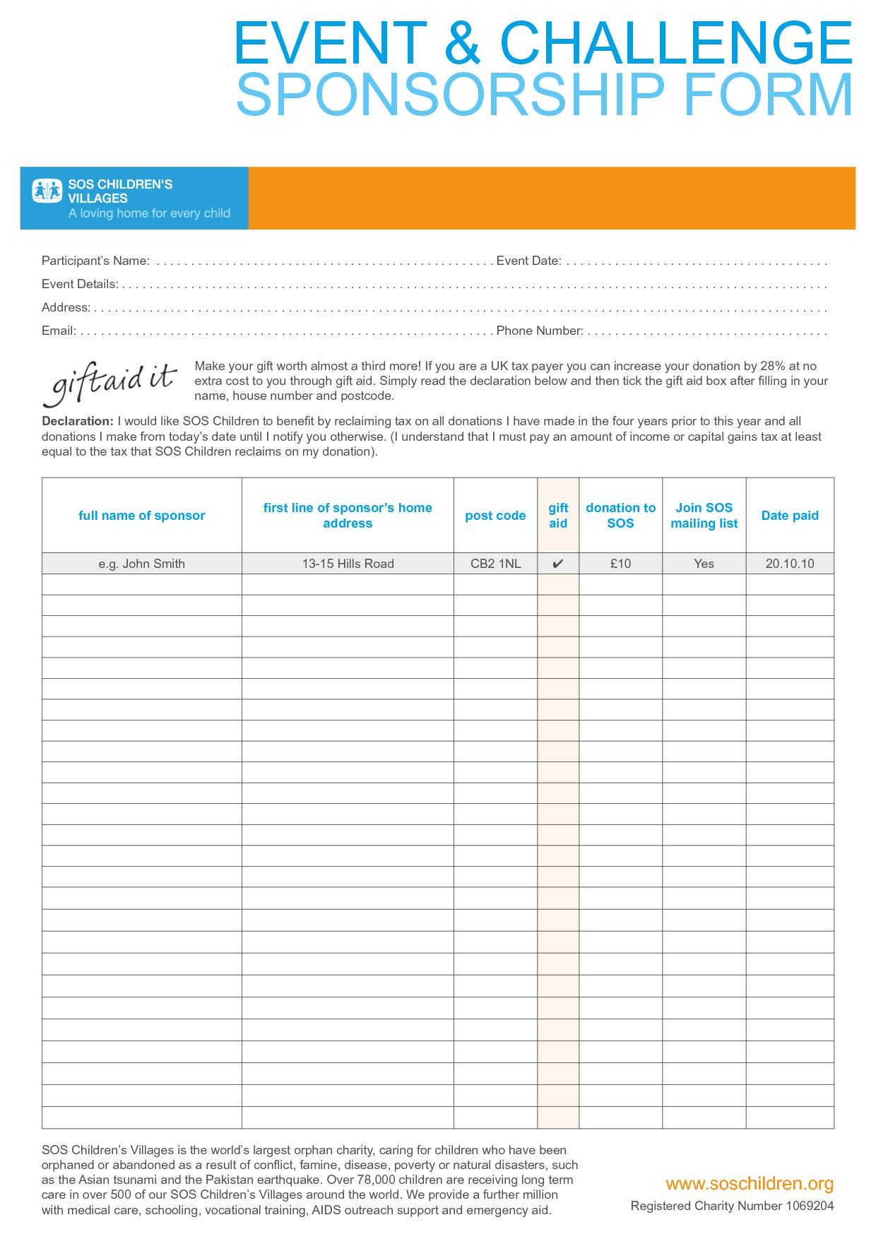 Fundraising Form Template Word