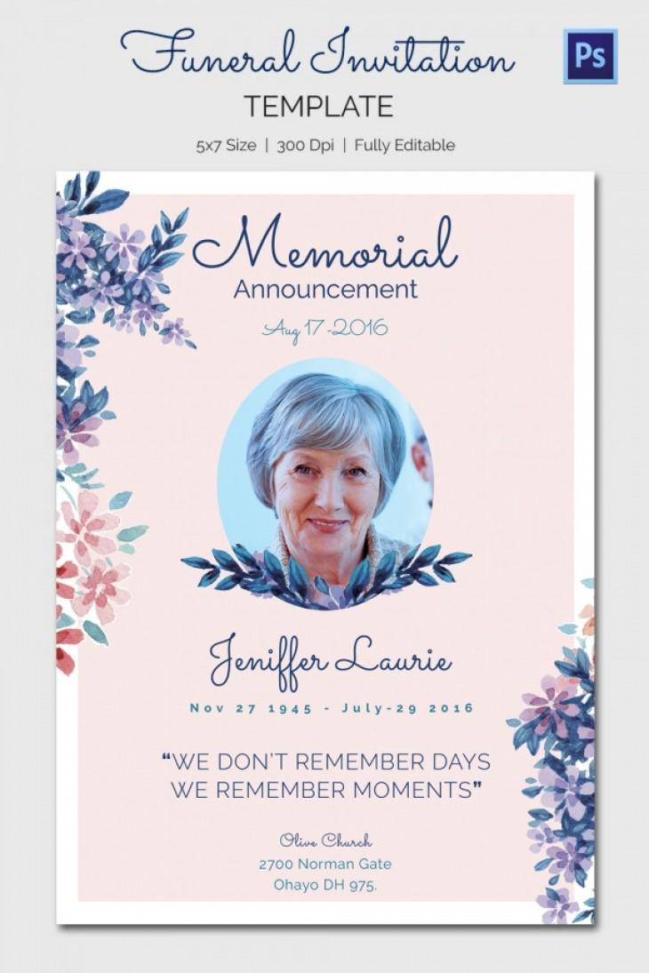 Funeral Invitation Templates Free