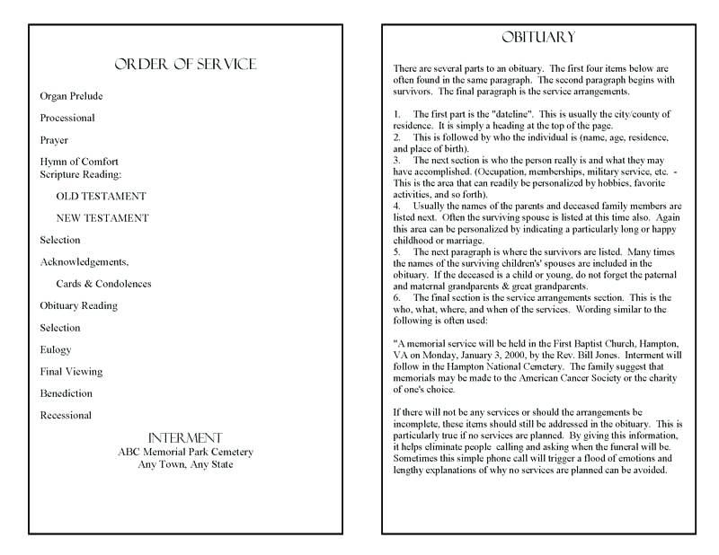 Funeral Order Of Service Program Template