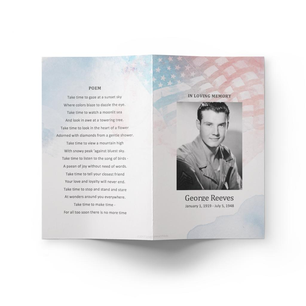 Funeral Program For Military Template